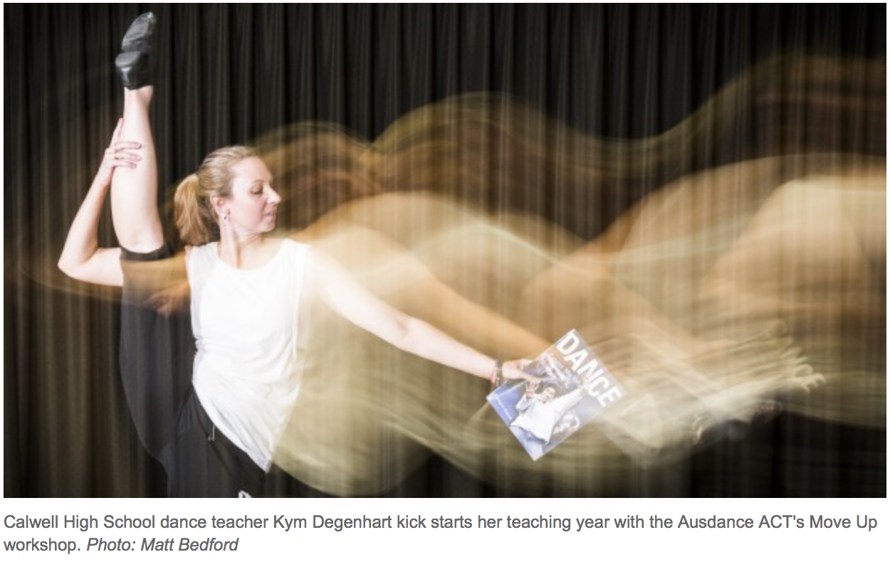 Caldwell High School dance teacher Kym Degenhart kick starts her teaching year with the Ausdance ACT's Move Up workshop