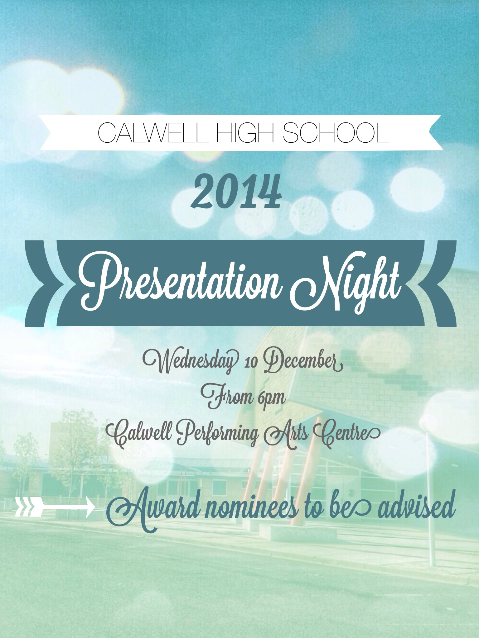 Presentation Night 2014 Wednesday 10 December from 6pm